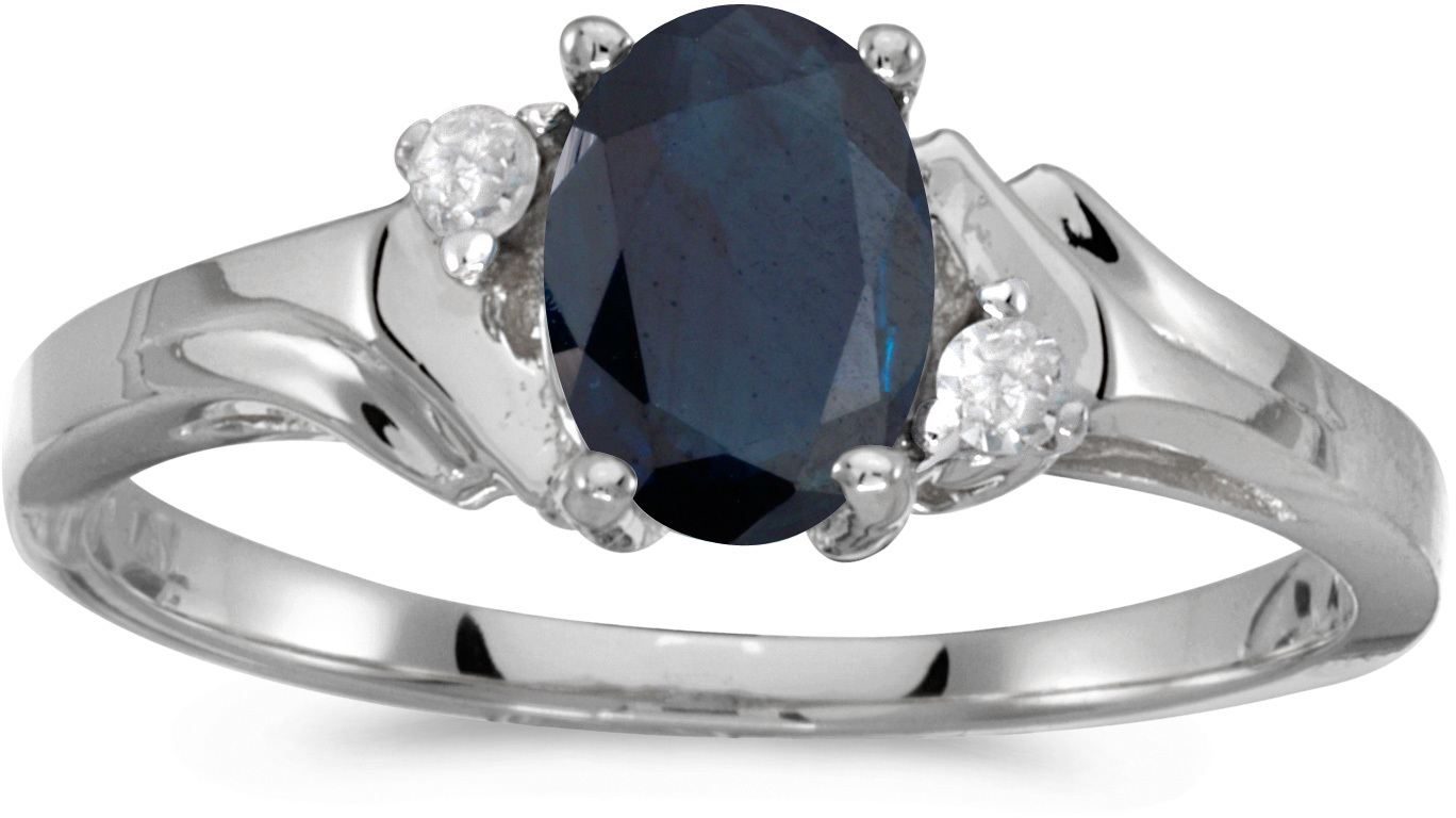 10k White Gold Oval Sapphire And Diamond Ring (CM-RM1248W-09)