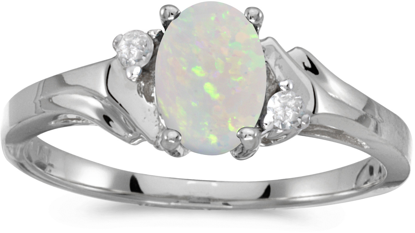 10k White Gold Oval Opal And Diamond Ring (CM-RM1248W-10)