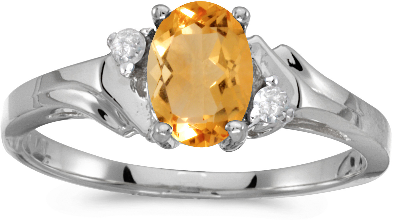 10k White Gold Oval Citrine And Diamond Ring (CM-RM1248W-11)