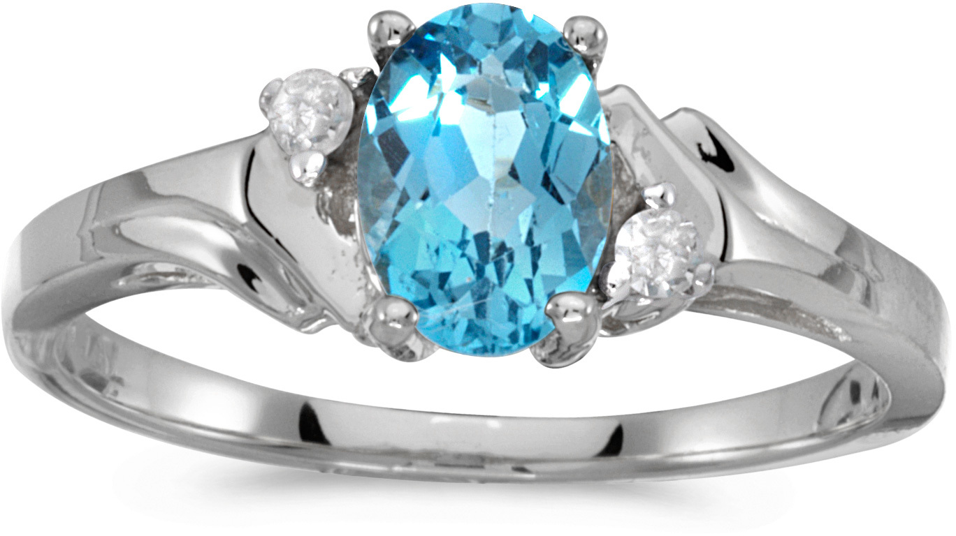 10k White Gold Oval Blue Topaz And Diamond Ring (CM-RM1248W-12)