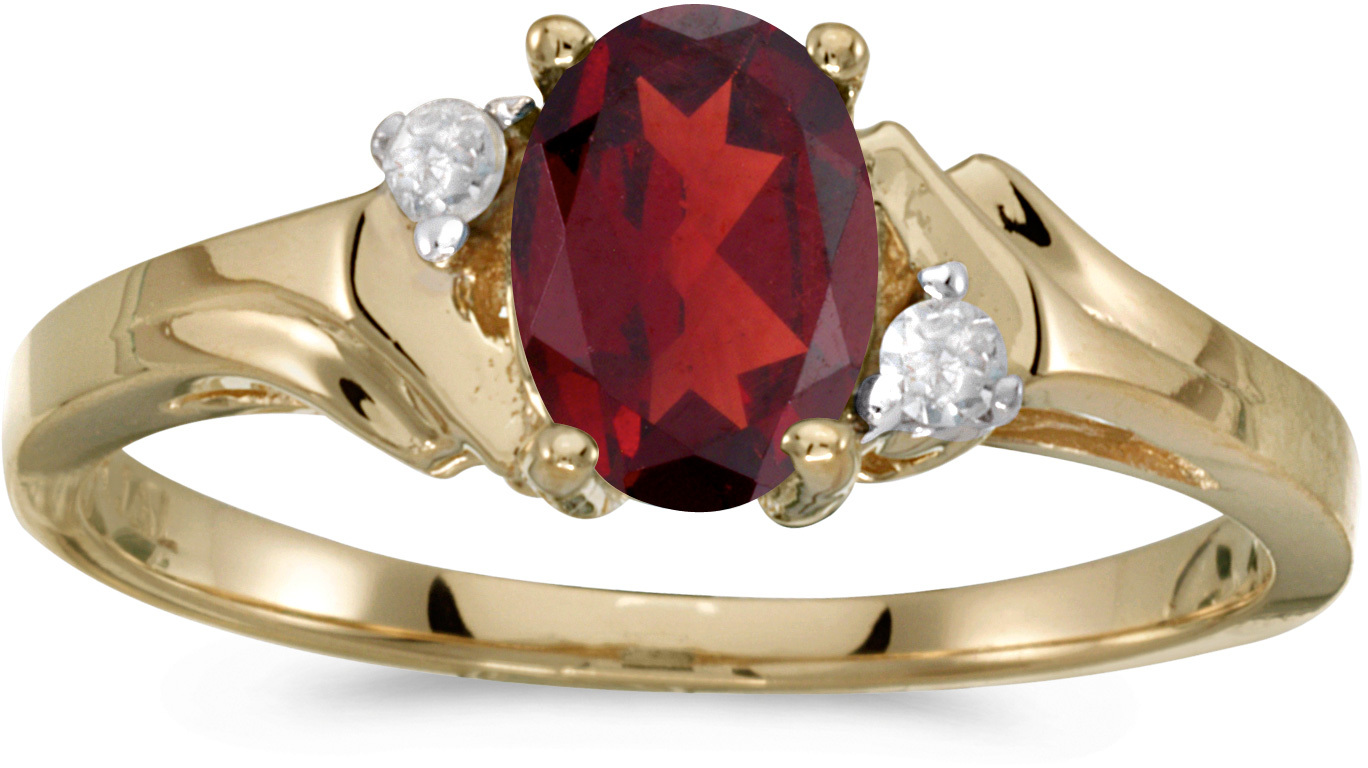 14k Yellow Gold Oval Garnet And Diamond Ring (CM-RM1248X-01)