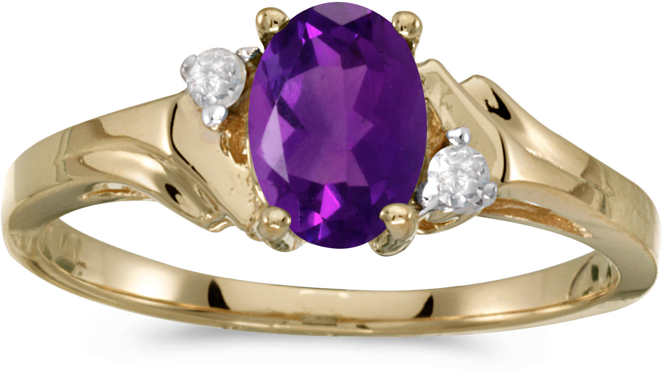 14k Yellow Gold Oval Amethyst And Diamond Ring (CM-RM1248X-02)