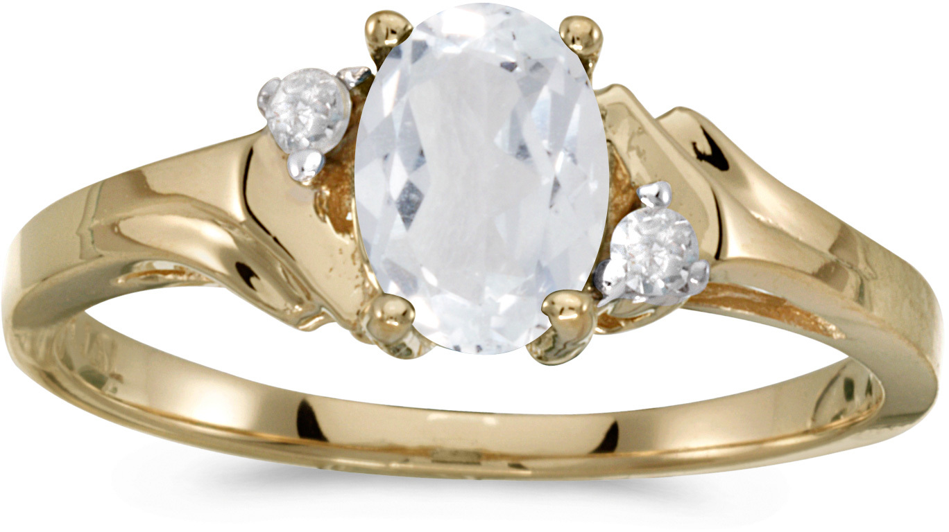 14k Yellow Gold Oval White Topaz And Diamond Ring (CM-RM1248X-04)