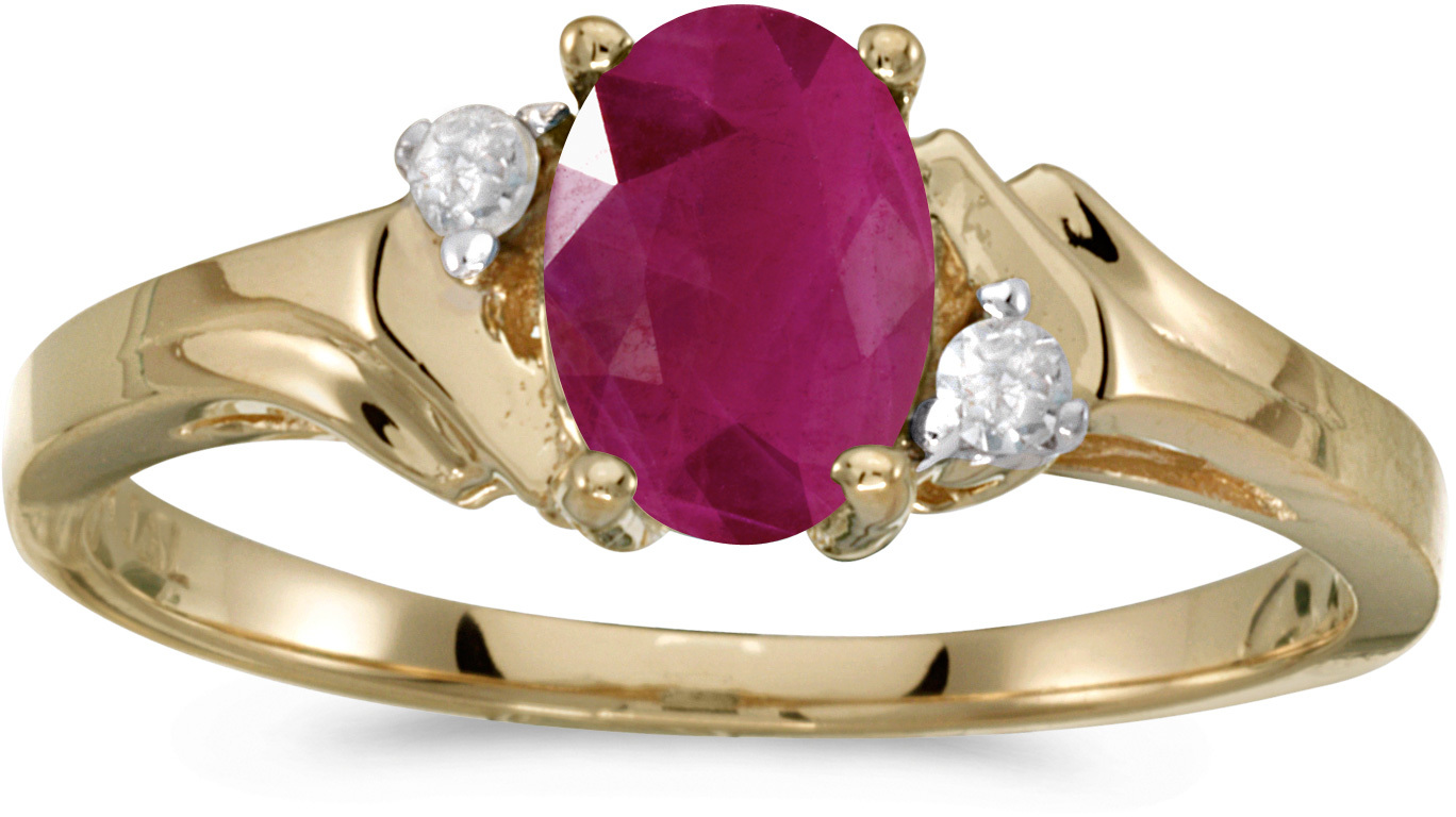 14k Yellow Gold Oval Ruby And Diamond Ring (CM-RM1248X-07)