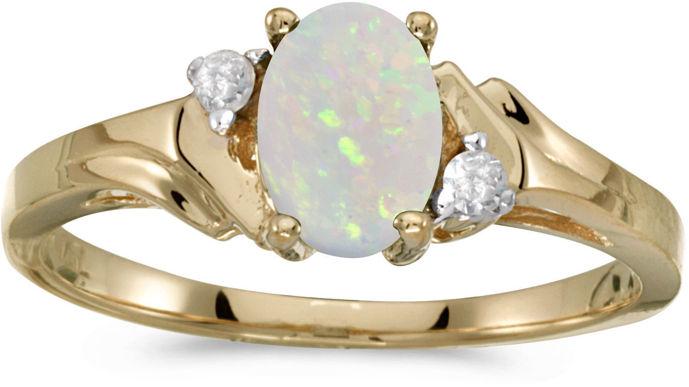 14k Yellow Gold Oval Opal And Diamond Ring (CM-RM1248X-10)