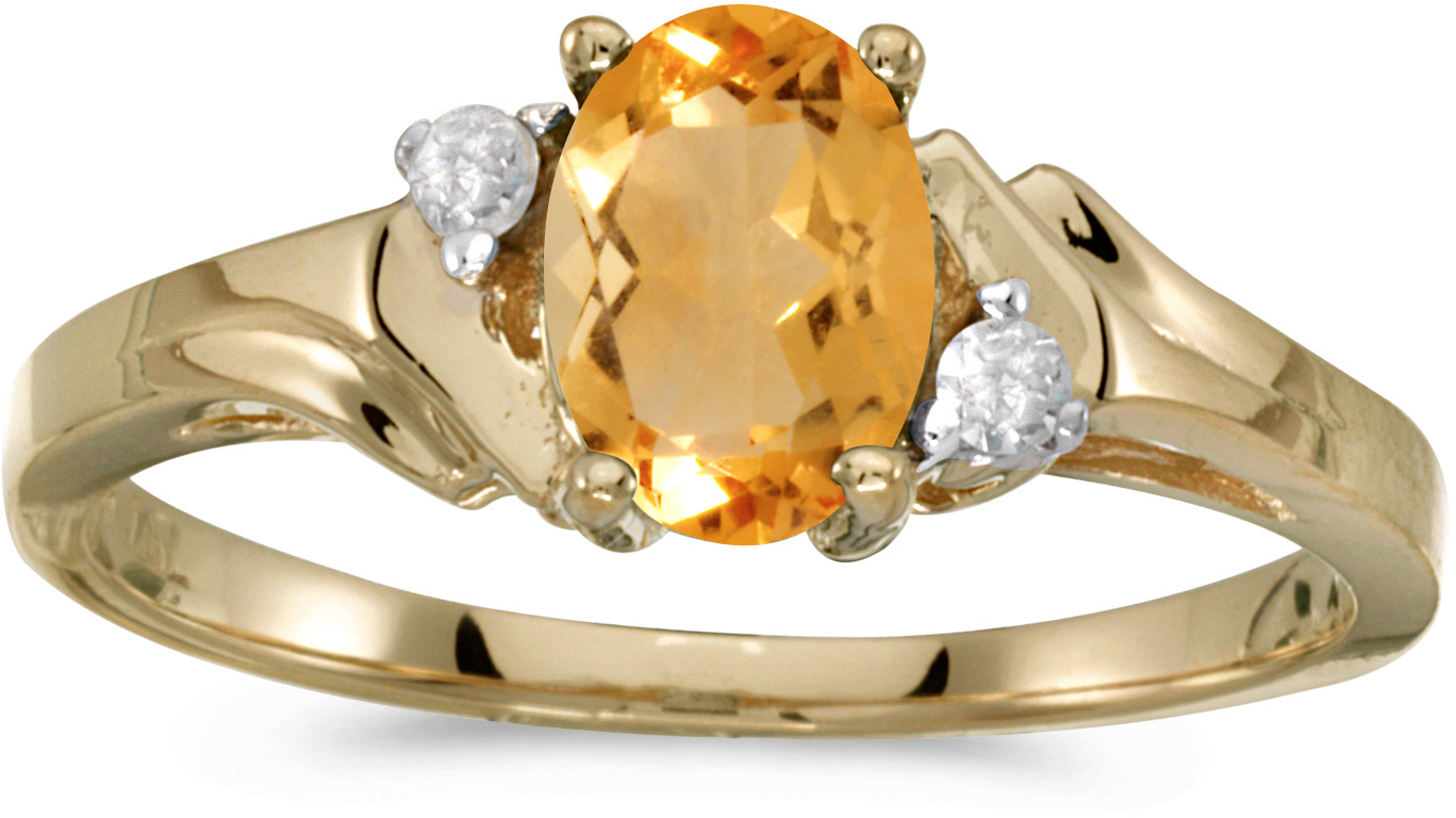 14k Yellow Gold Oval Citrine And Diamond Ring (CM-RM1248X-11)