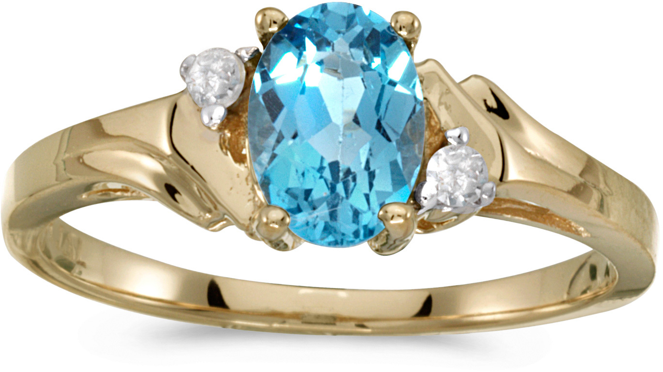 14k Yellow Gold Oval Blue Topaz And Diamond Ring (CM-RM1248X-12)