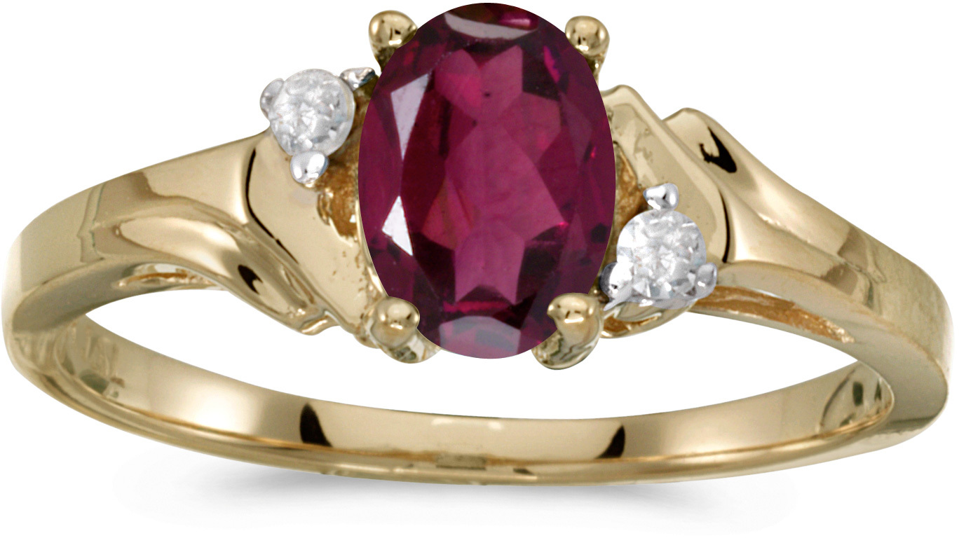 14k Yellow Gold Oval Rhodolite Garnet And Diamond Ring (CM-RM1248X-RG)