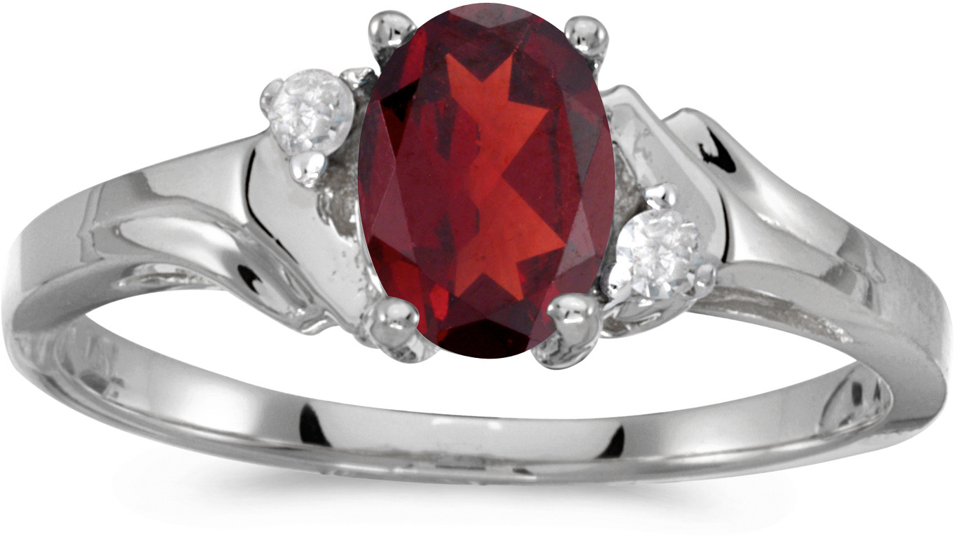 14k White Gold Oval Garnet And Diamond Ring (CM-RM1248XW-01)