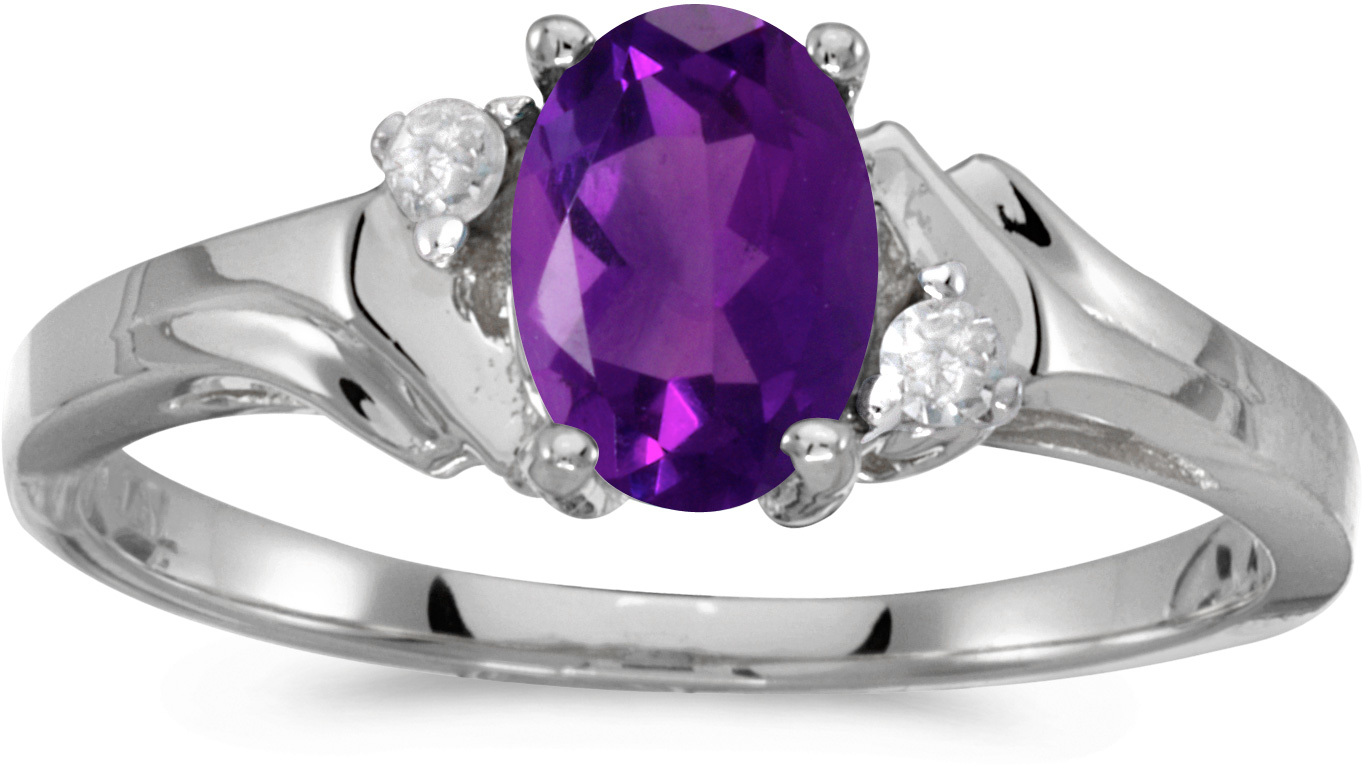 14k White Gold Oval Amethyst And Diamond Ring (CM-RM1248XW-02)