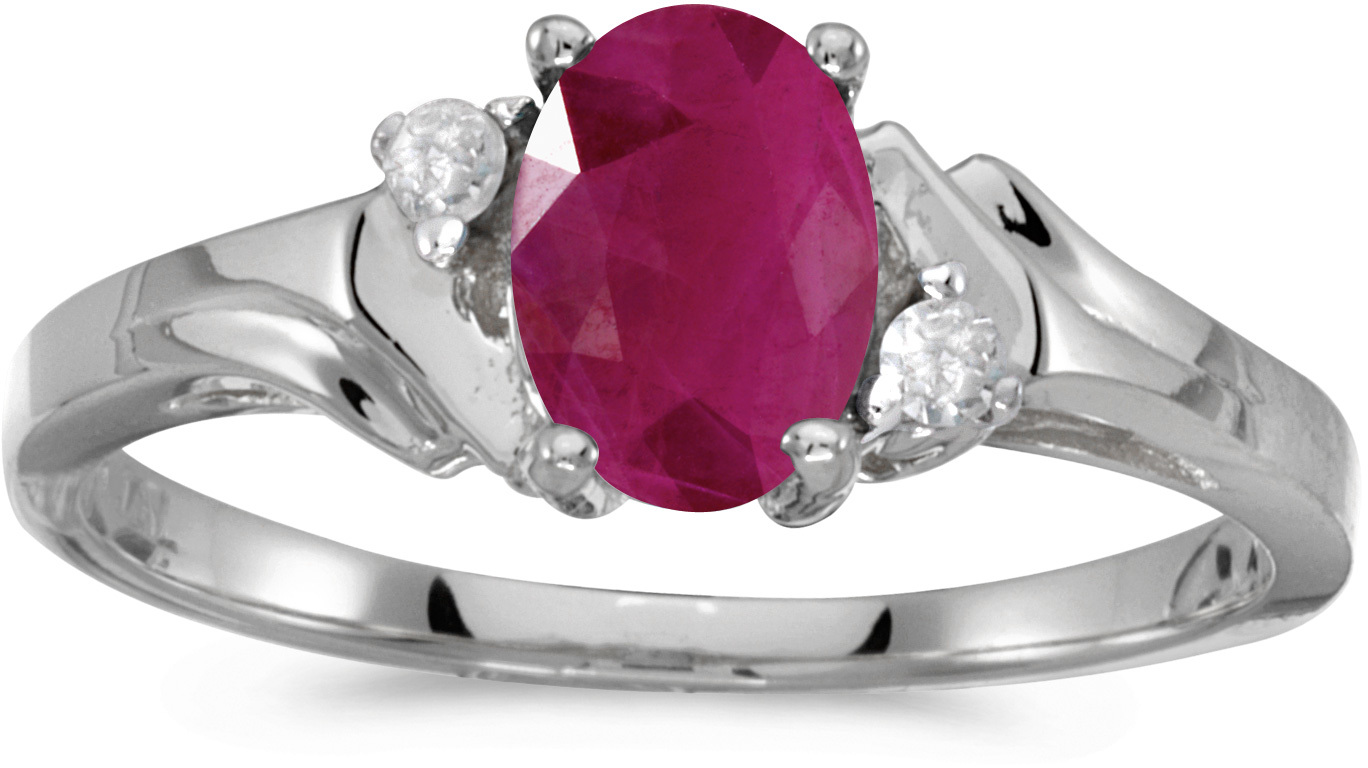 14k White Gold Oval Ruby And Diamond Ring (CM-RM1248XW-07)