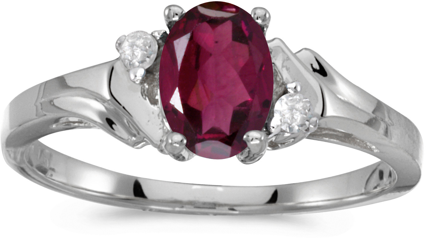 14k White Gold Oval Rhodolite Garnet And Diamond Ring (CM-RM1248XW-RG)