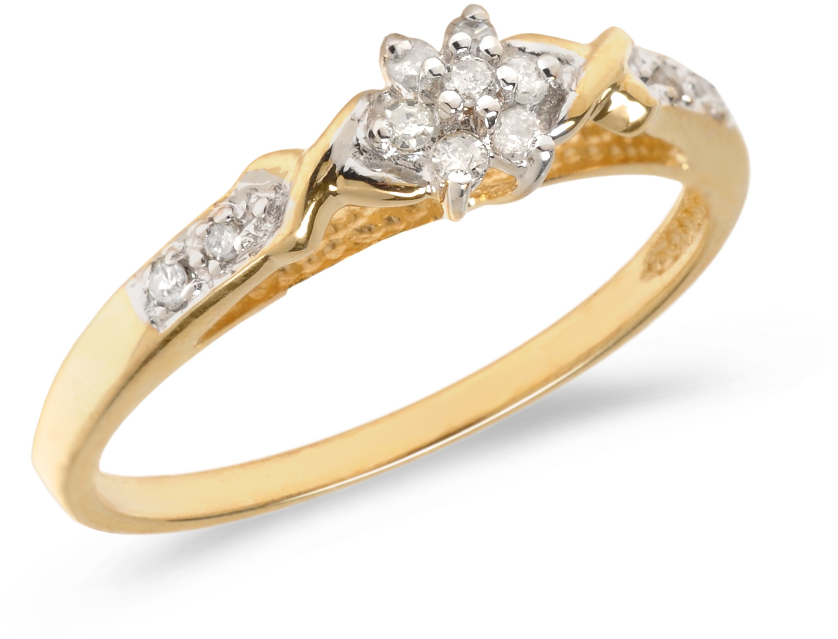 10K Yellow Gold Diamond Cluster Ring (CM-RM1316)