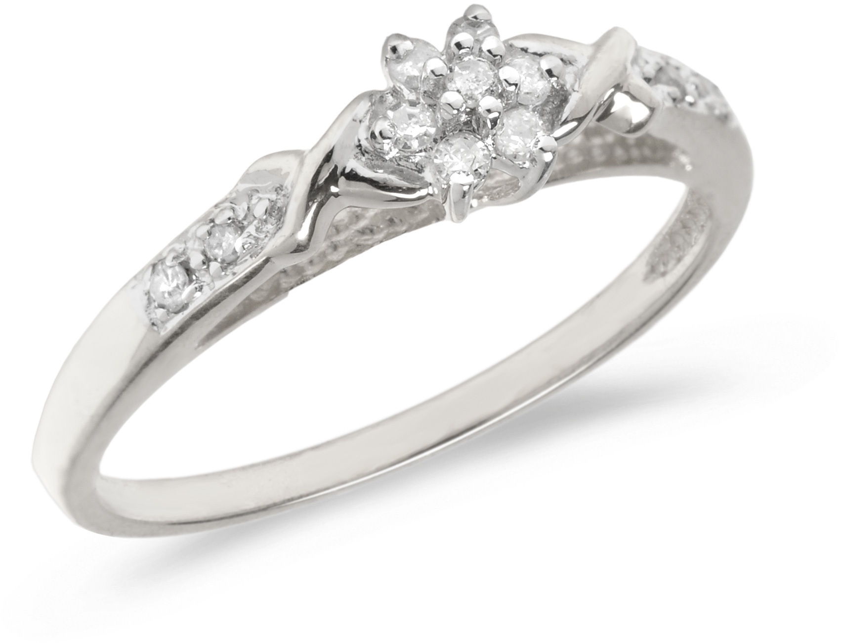 10K White Gold Diamond Cluster Ring (CM-RM1316W)