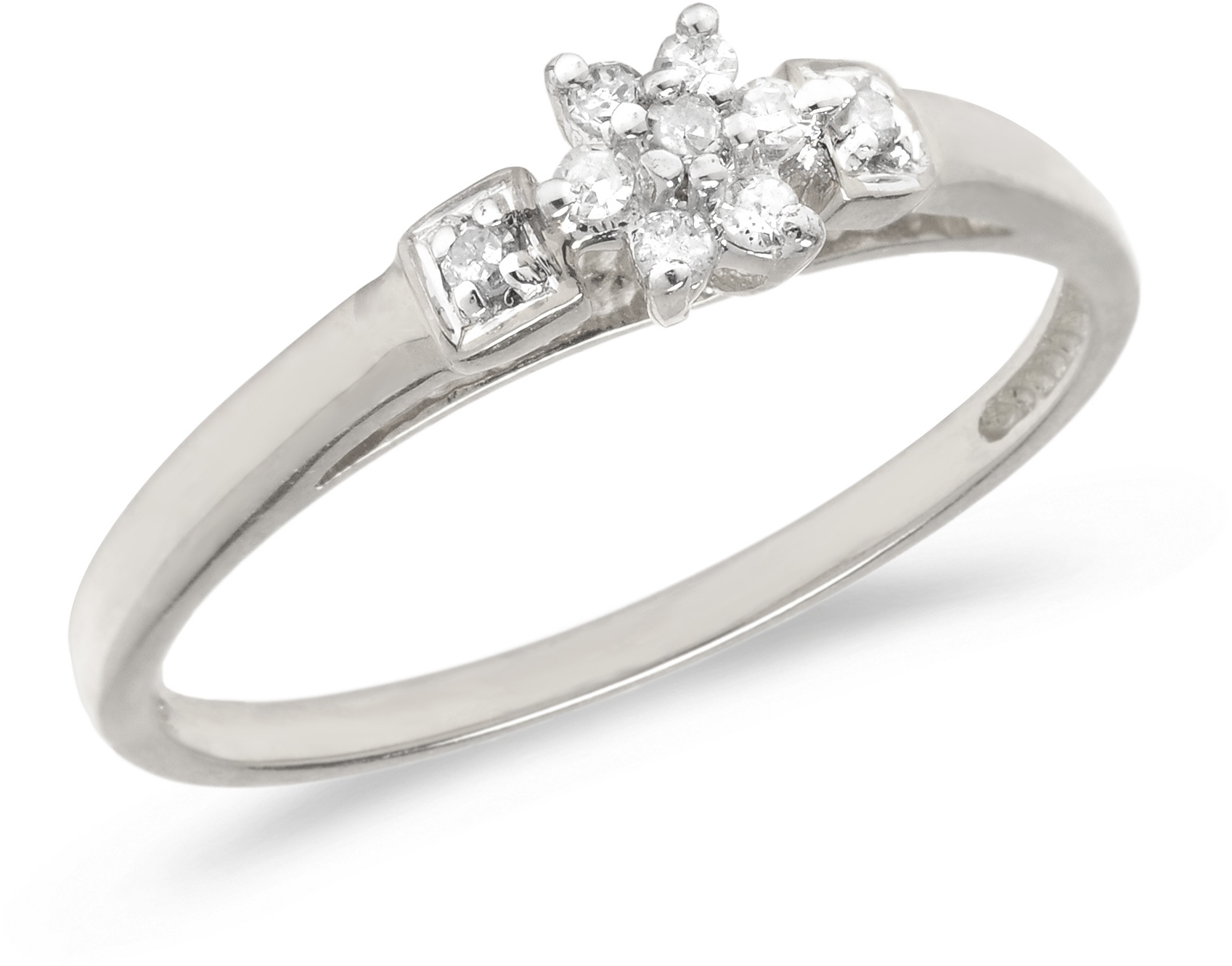 10K White Gold Diamond Cluster Ring (CM-RM1317W)