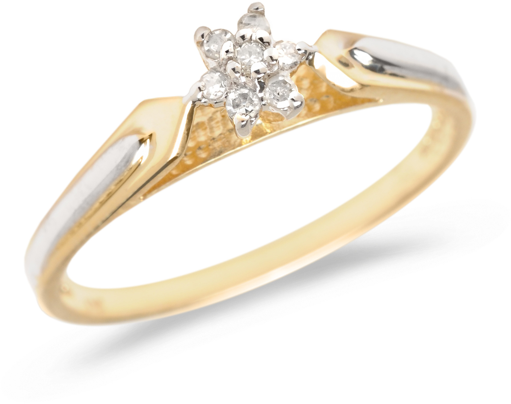 14K Yellow Gold Diamond Cluster Ring (CM-RM1319X)