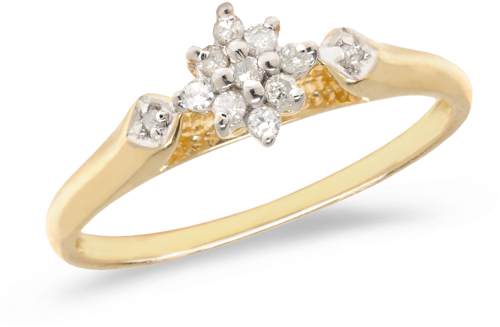 14K Yellow Gold Diamond Cluster Ring (CM-RM1320X)