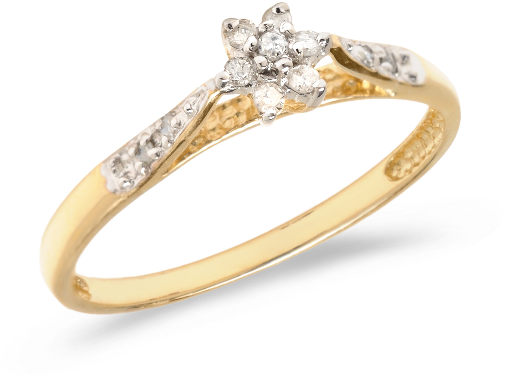 10K Yellow Gold Diamond Cluster Ring (CM-RM1321)