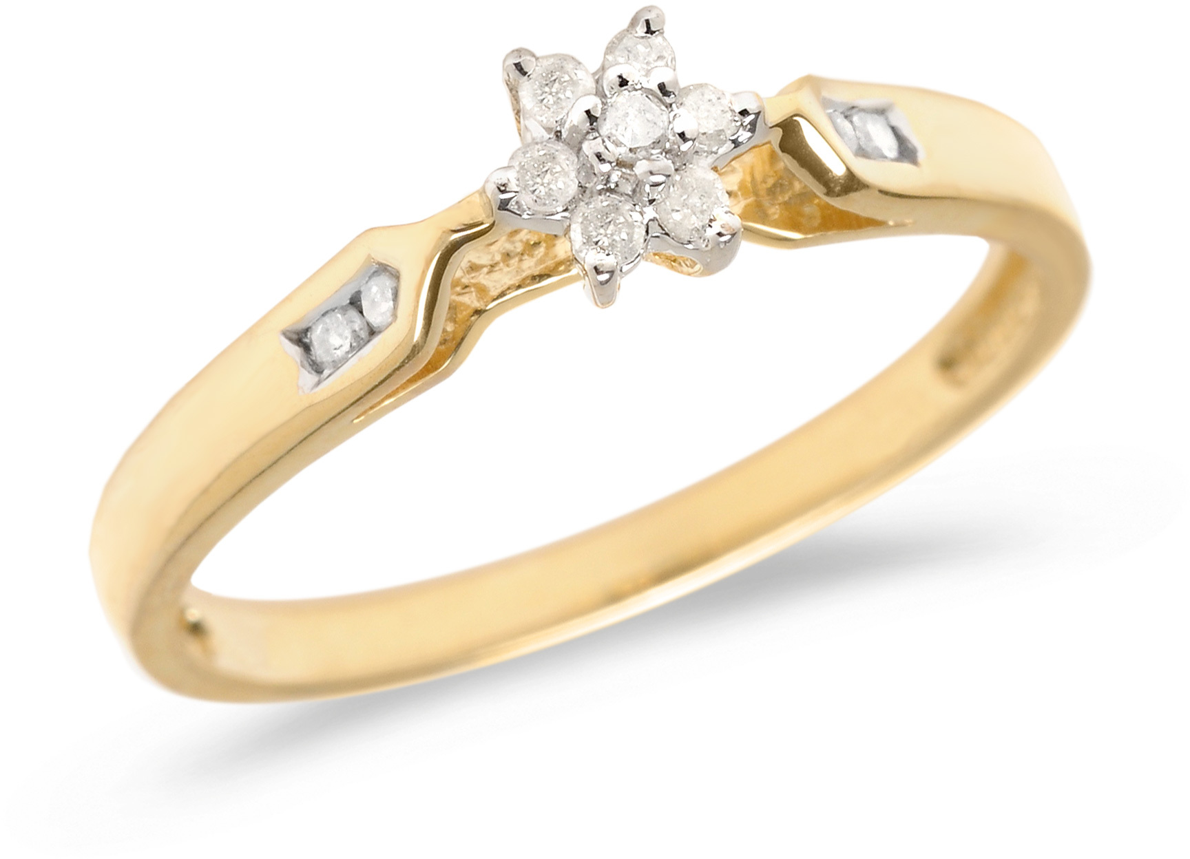 10K Yellow Gold Diamond Cluster Ring (CM-RM1322)