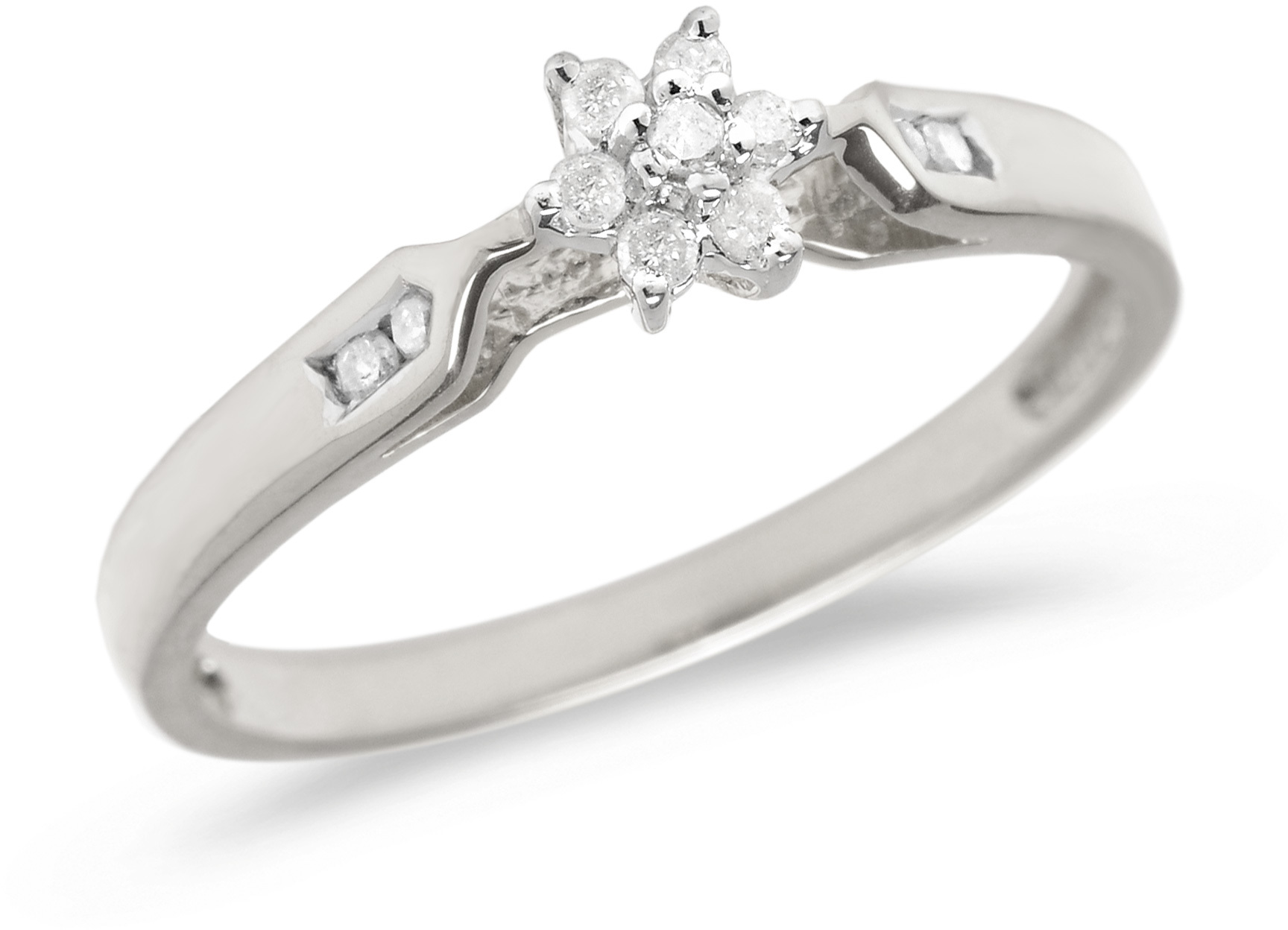 10K White Gold Diamond Cluster Ring (CM-RM1322W)