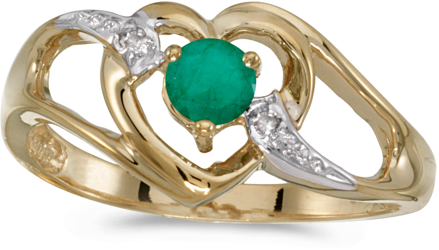 10k Yellow Gold Round Emerald And Diamond Heart Ring (CM-RM1336-05)