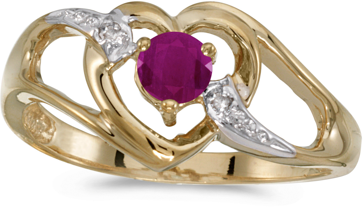 10k Yellow Gold Round Ruby And Diamond Heart Ring (CM-RM1336-07)