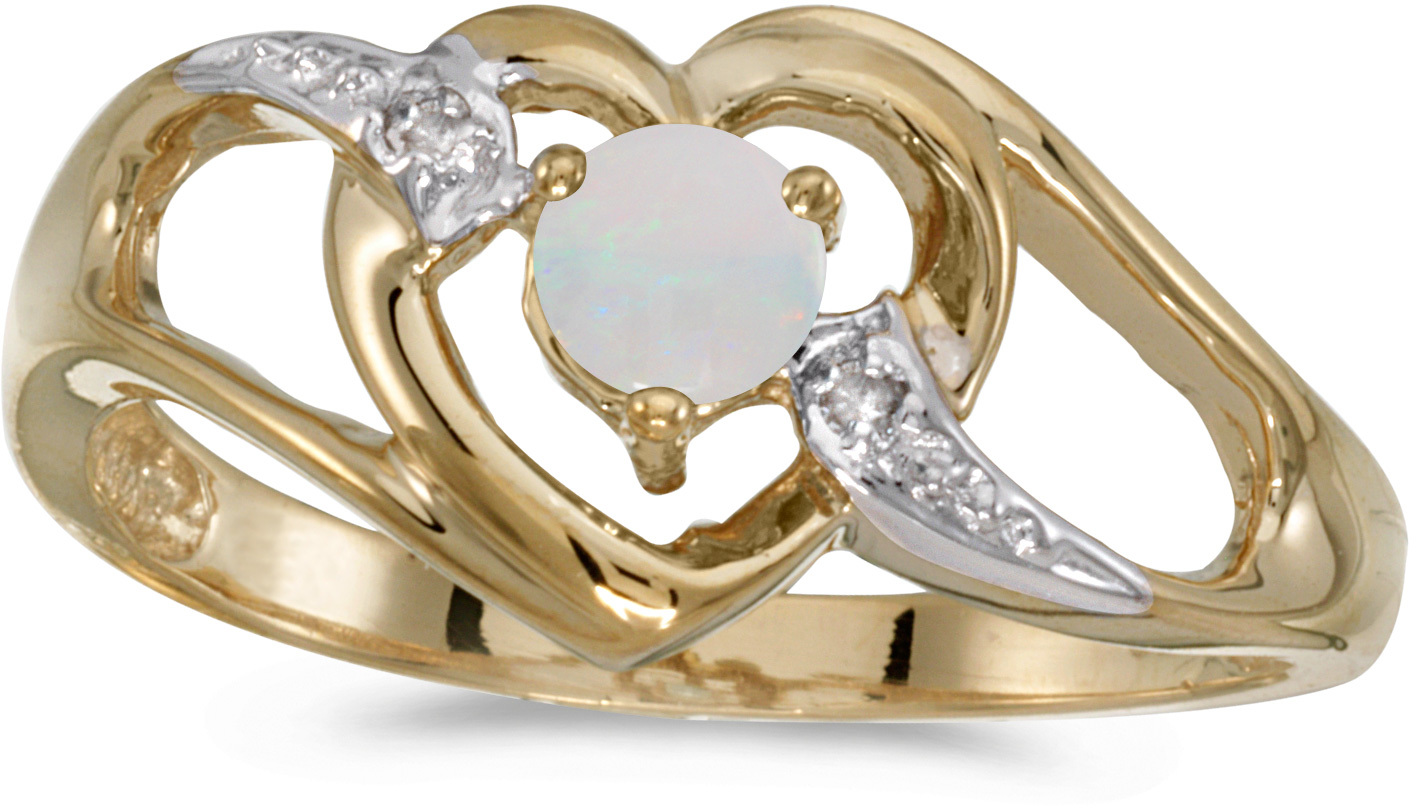 10k Yellow Gold Round Opal And Diamond Heart Ring (CM-RM1336-10)