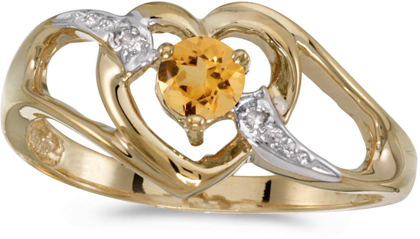 10k Yellow Gold Round Citrine And Diamond Heart Ring (CM-RM1336-11)