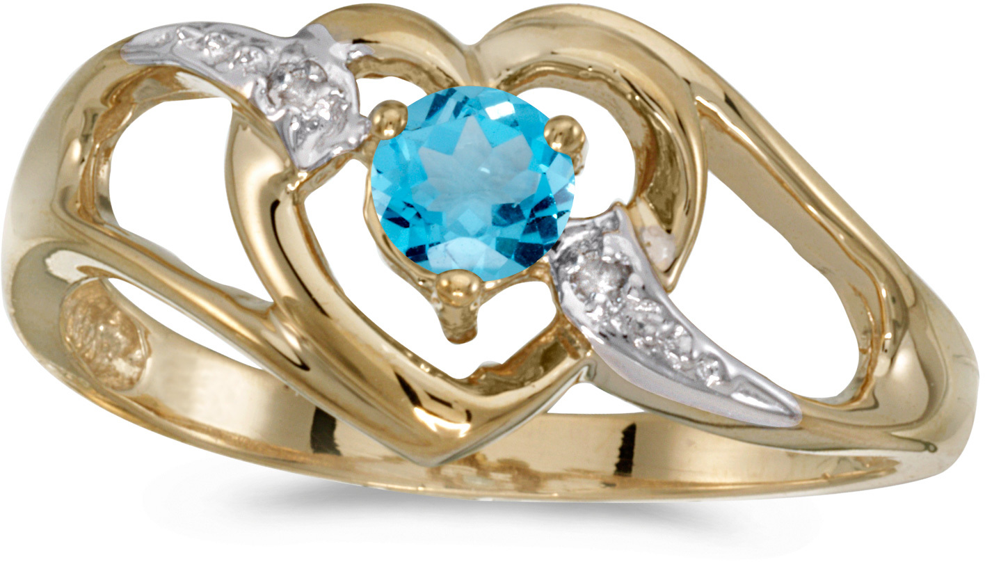 10k Yellow Gold Round Blue Topaz And Diamond Heart Ring (CM-RM1336-12)