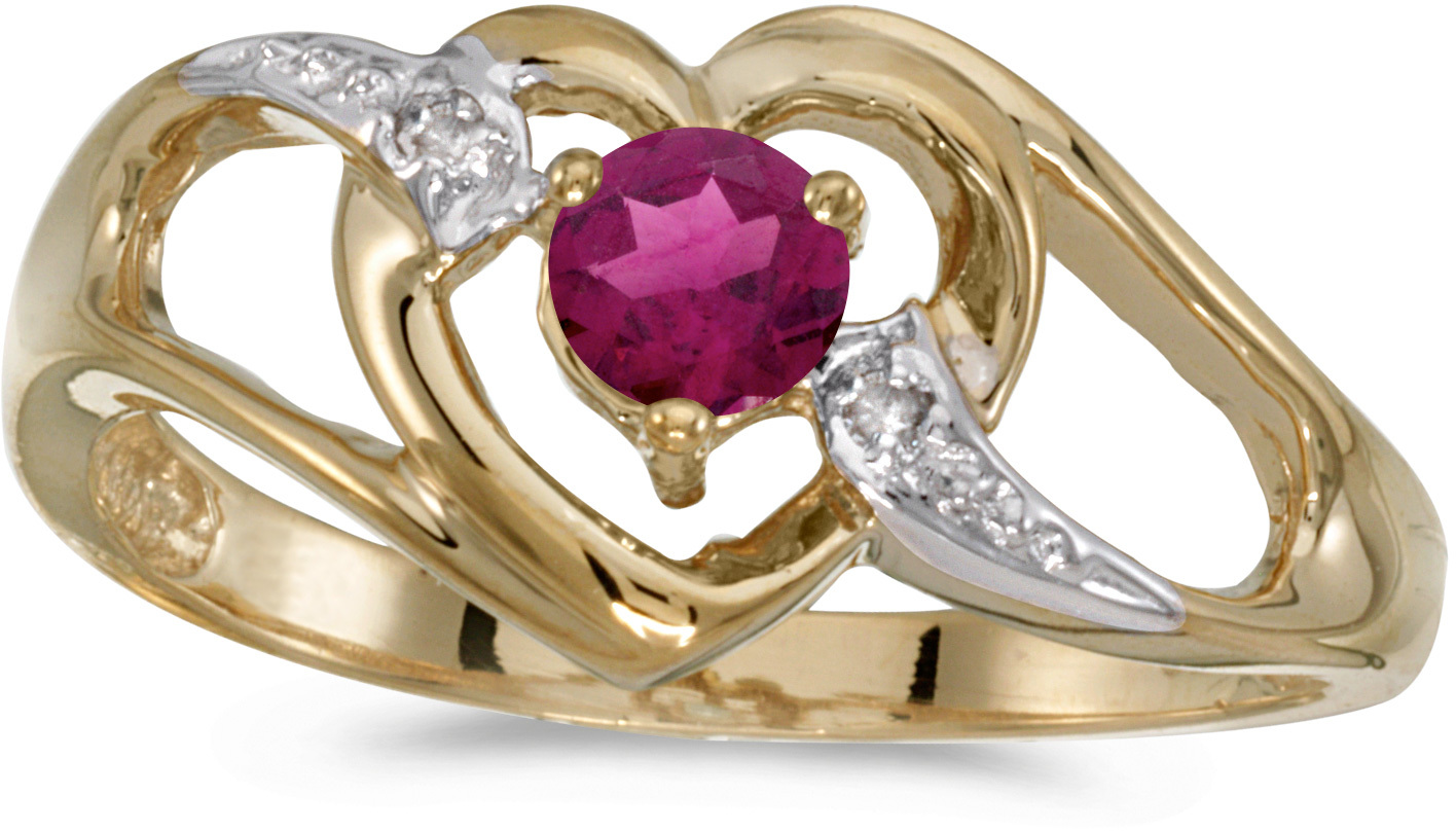 10k Yellow Gold Round Rhodolite Garnet And Diamond Heart Ring (CM-RM1336-RG)