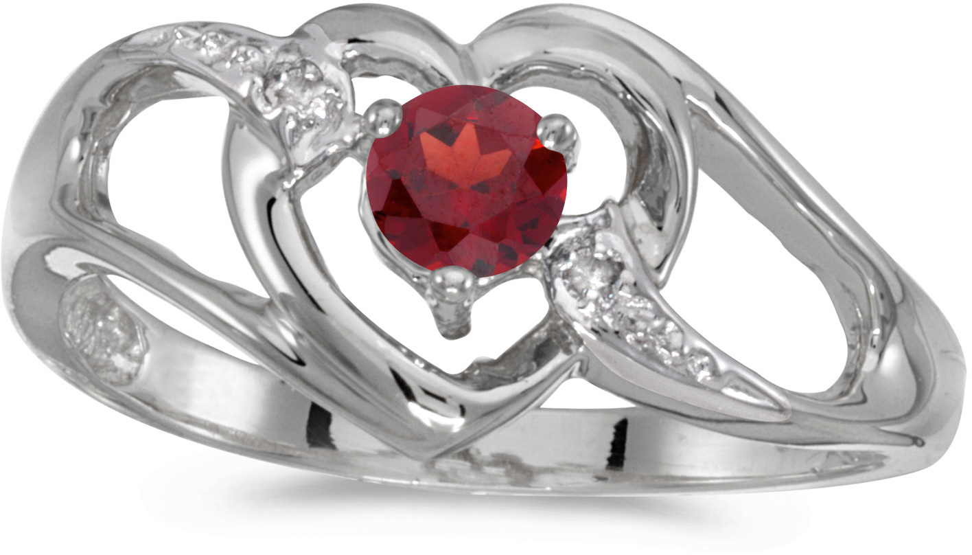 10k White Gold Round Garnet And Diamond Heart Ring (CM-RM1336W-01)