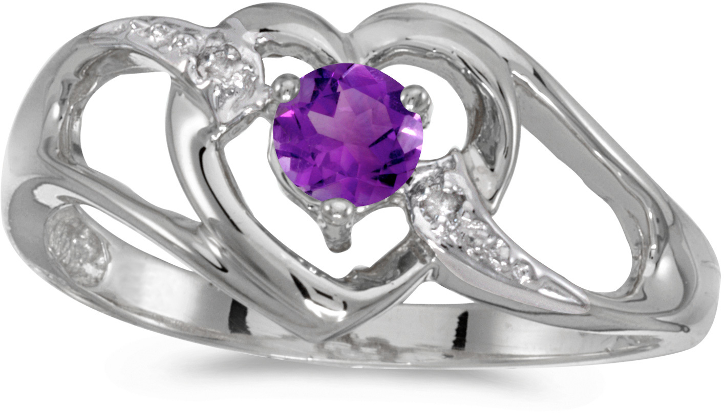 10k White Gold Round Amethyst And Diamond Heart Ring (CM-RM1336W-02)