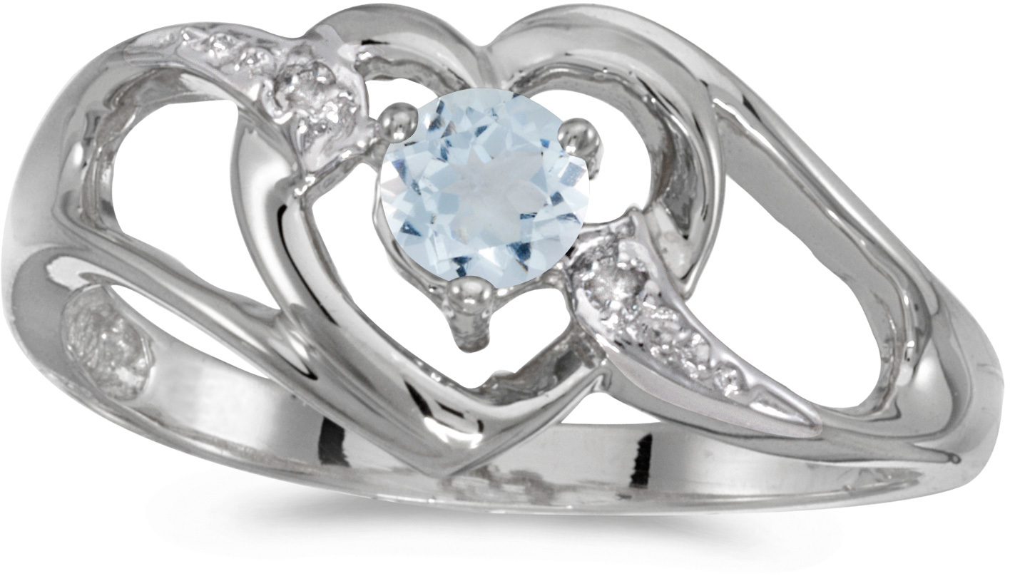 10k White Gold Round Aquamarine And Diamond Heart Ring (CM-RM1336W-03)