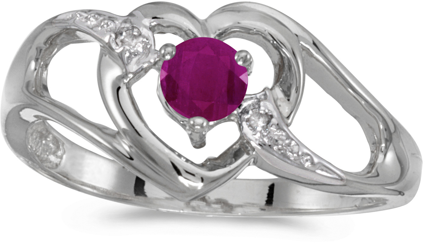 10k White Gold Round Ruby And Diamond Heart Ring (CM-RM1336W-07)