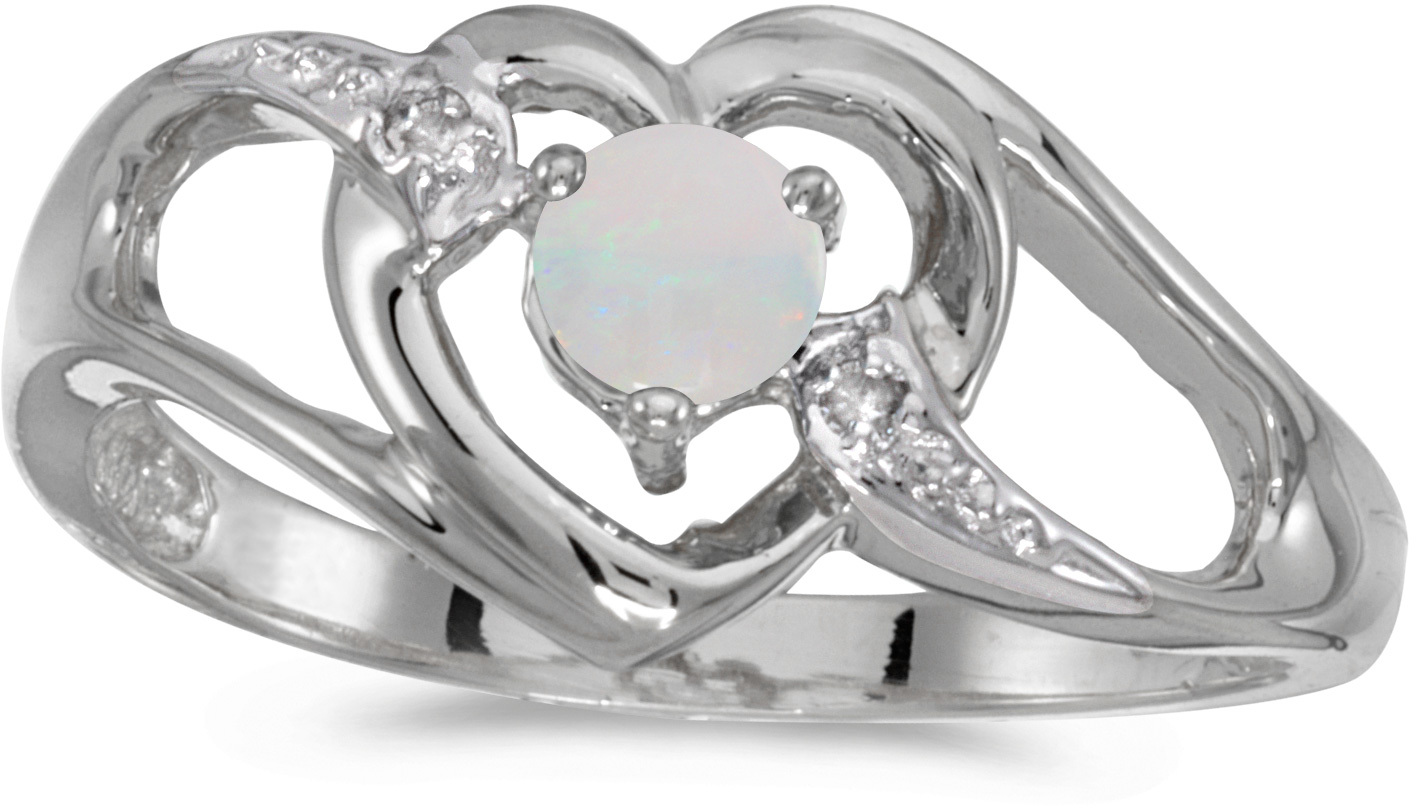 10k White Gold Round Opal And Diamond Heart Ring (CM-RM1336W-10)
