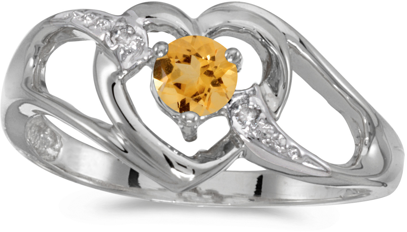 10k White Gold Round Citrine And Diamond Heart Ring (CM-RM1336W-11)