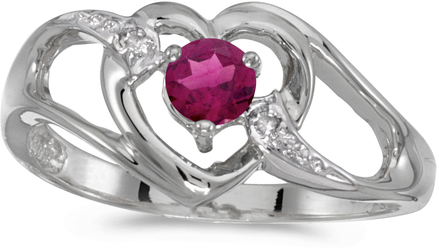 10k White Gold Round Rhodolite Garnet And Diamond Heart Ring (CM-RM1336W-RG)