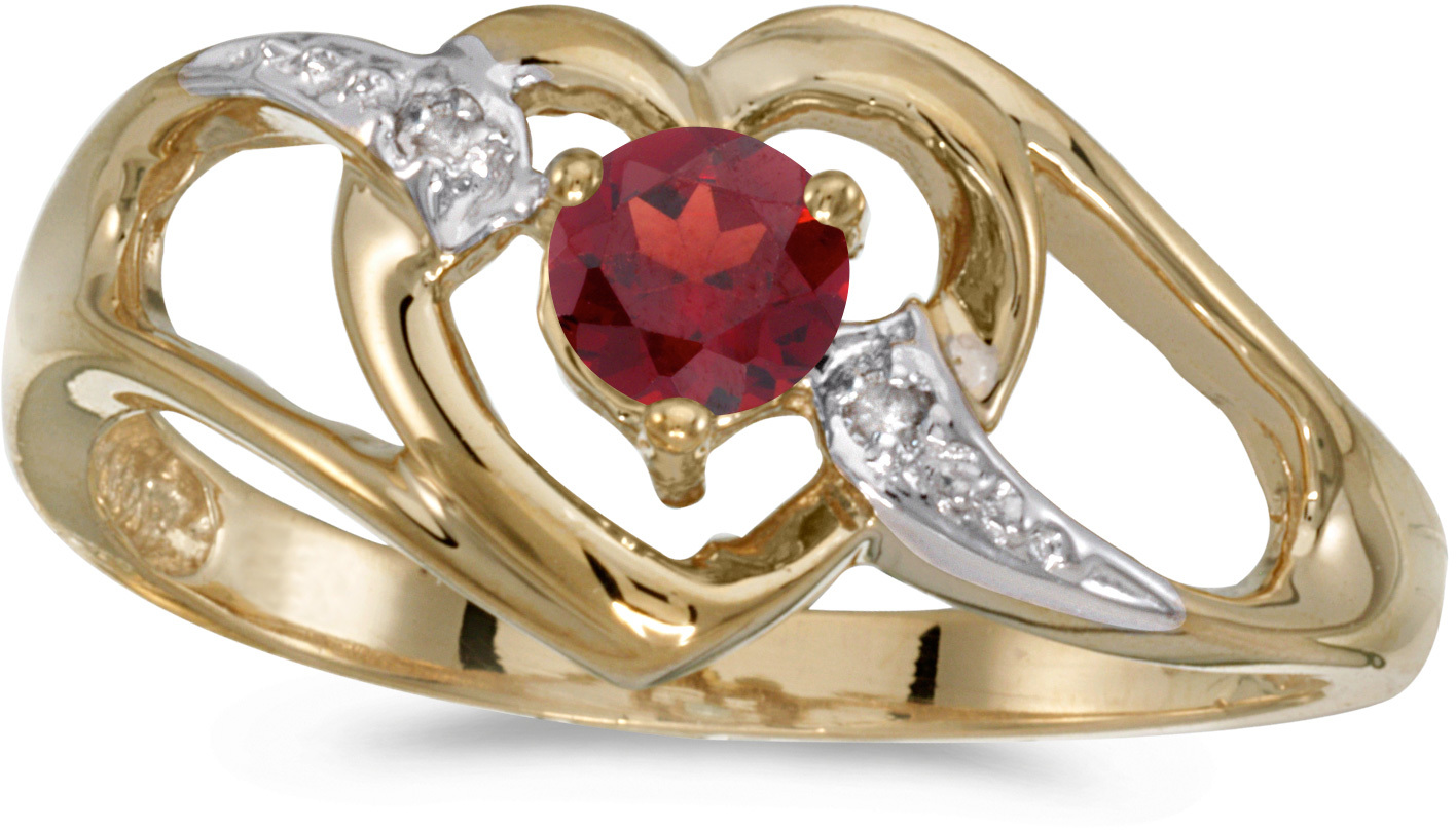 14k Yellow Gold Round Garnet And Diamond Heart Ring (CM-RM1336X-01)