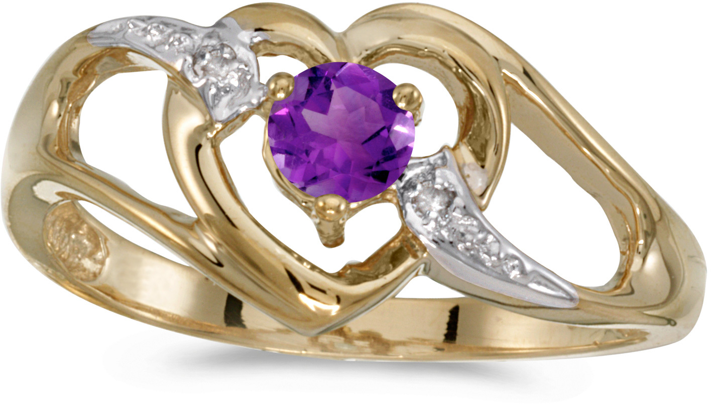 14k Yellow Gold Round Amethyst And Diamond Heart Ring (CM-RM1336X-02)