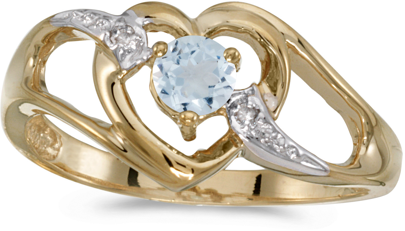14k Yellow Gold Round Aquamarine And Diamond Heart Ring (CM-RM1336X-03)