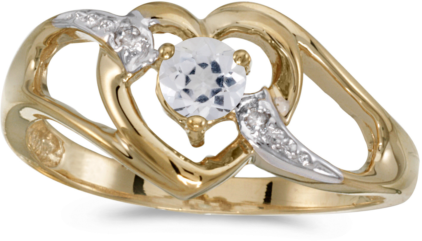 14k Yellow Gold Round White Topaz And Diamond Heart Ring (CM-RM1336X-04)