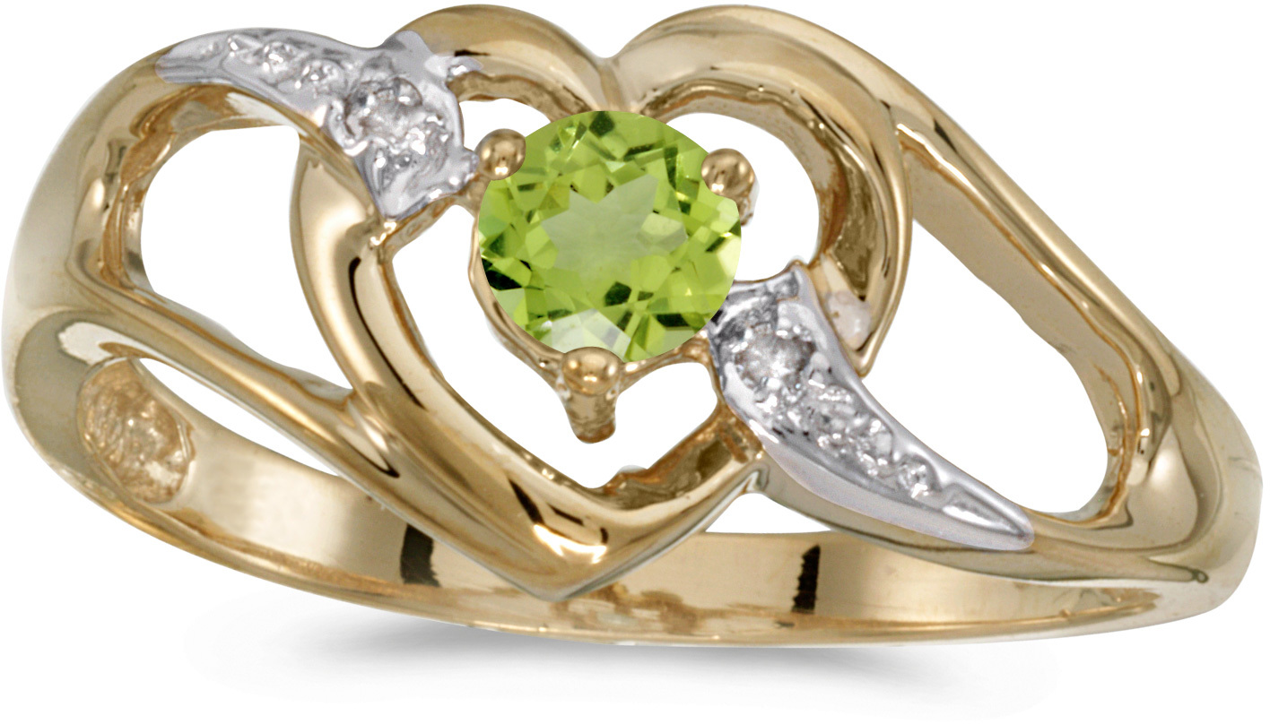 14k Yellow Gold Round Peridot And Diamond Heart Ring (CM-RM1336X-08)