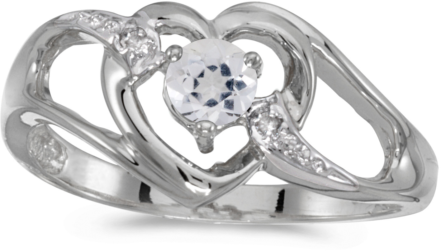 14k White Gold Round White Topaz And Diamond Heart Ring (CM-RM1336XW-04)
