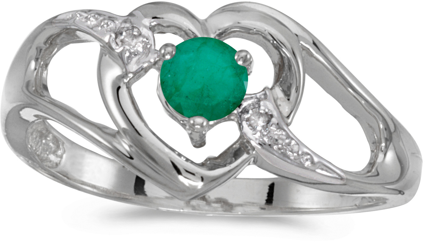 14k White Gold Round Emerald And Diamond Heart Ring (CM-RM1336XW-05)