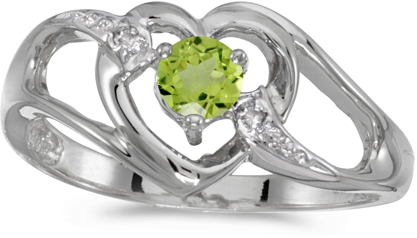 14k White Gold Round Peridot And Diamond Heart Ring (CM-RM1336XW-08)