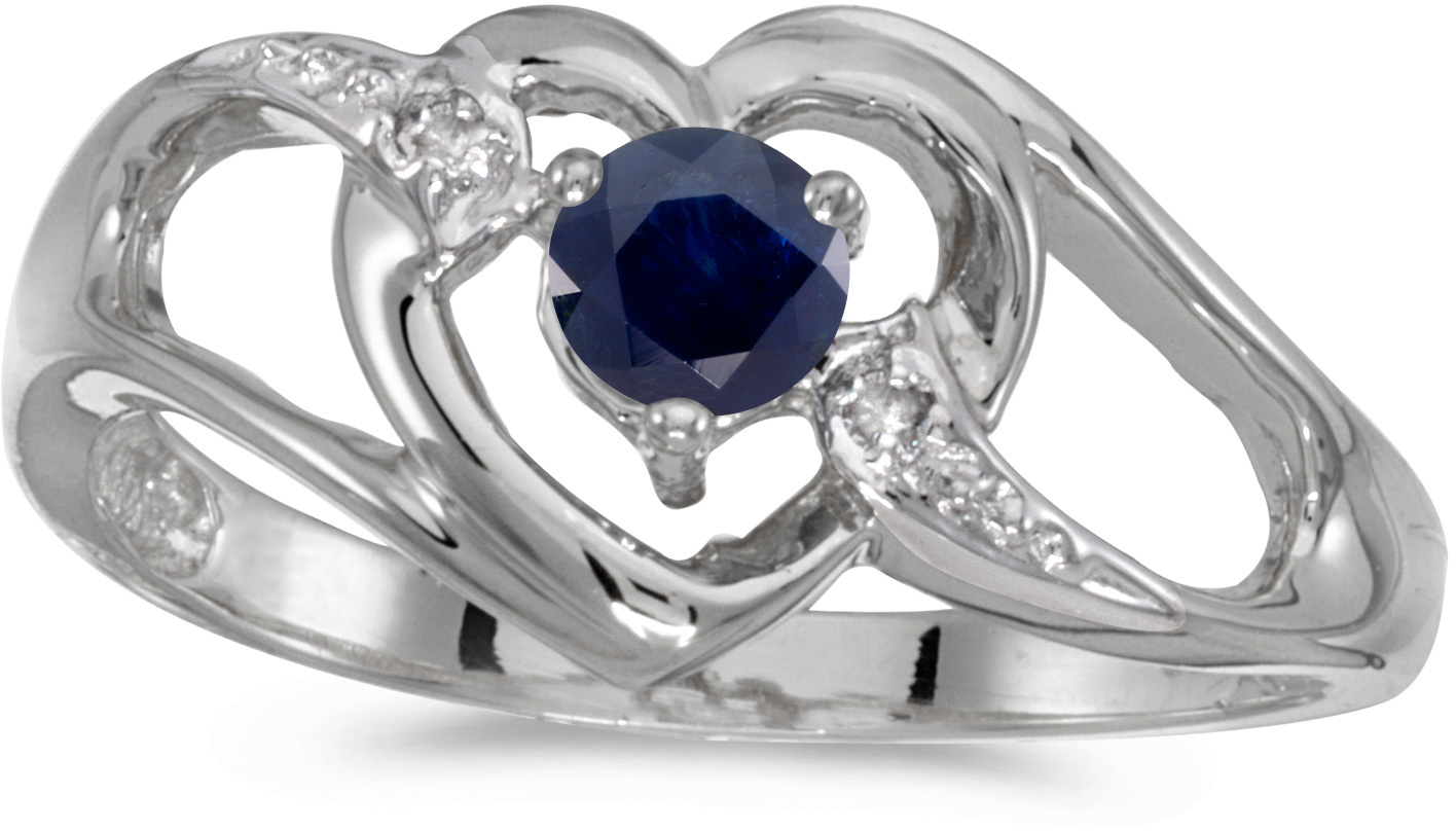14k White Gold Round Sapphire And Diamond Heart Ring (CM-RM1336XW-09)