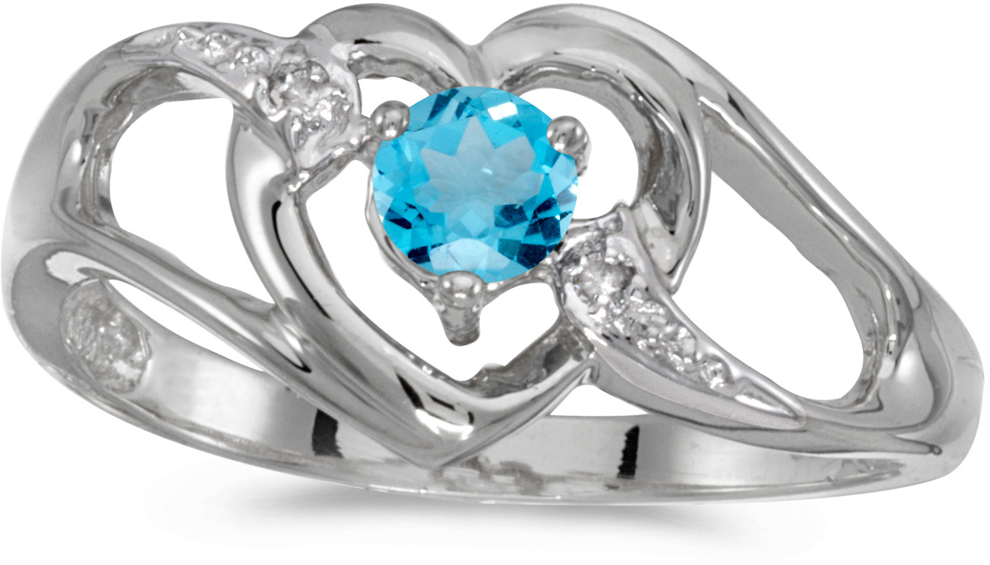 14k White Gold Round Blue Topaz And Diamond Heart Ring (CM-RM1336XW-12)