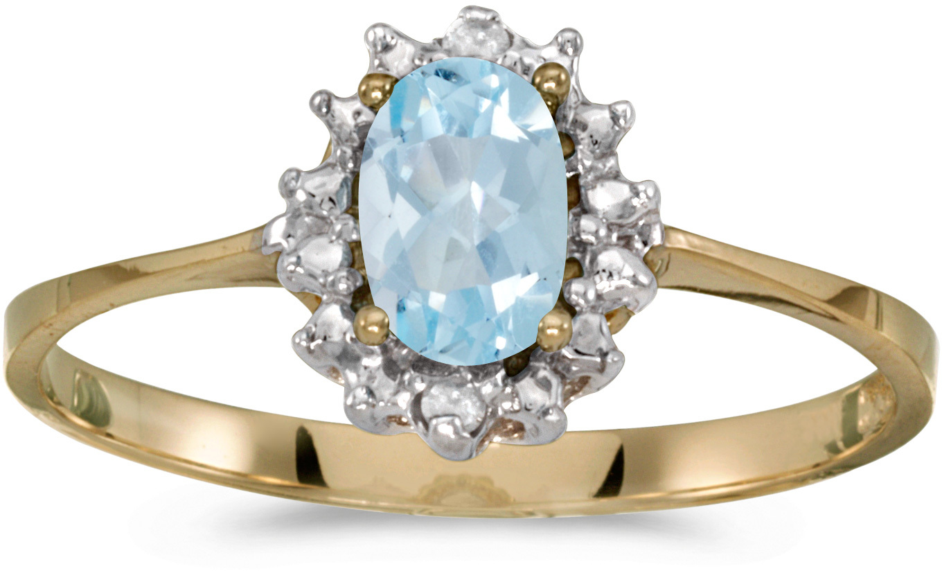 10k Yellow Gold Oval Aquamarine And Diamond Ring (CM-RM1342-03)