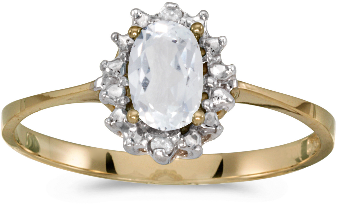 10k Yellow Gold Oval White Topaz And Diamond Ring (CM-RM1342-04)