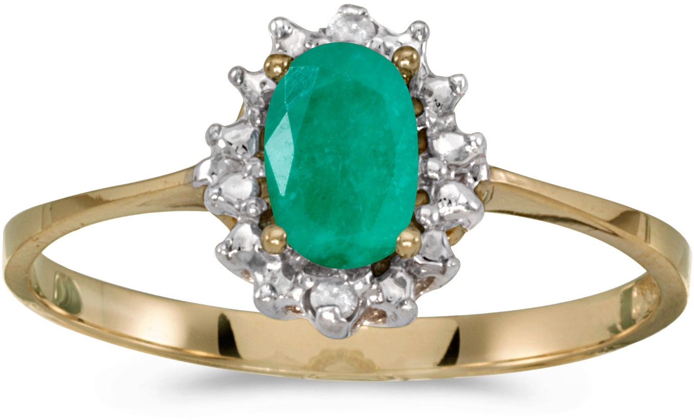 10k Yellow Gold Oval Emerald And Diamond Ring (CM-RM1342-05)